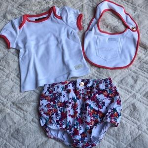 New 7 for all mankind baby girl shorts top bib 6-9